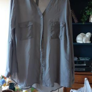 Sheer grey 1X blouse